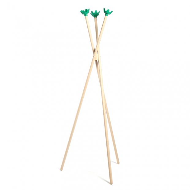 Stojanový vešiak Tripla 3, breza / zelené háčiky