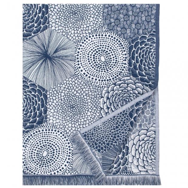 Ľanová deka / obrus Ruut 140x240, modro-biela