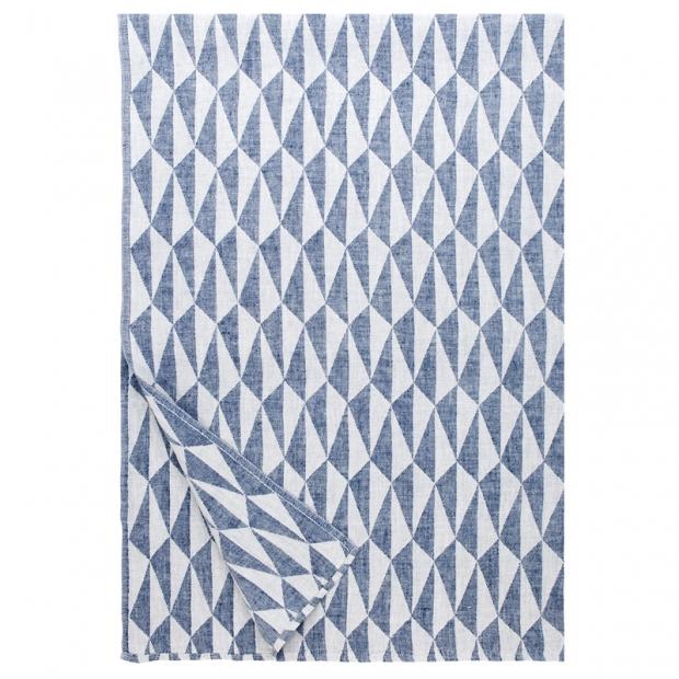 Ľanová deka Triano 140x200, modro-biela