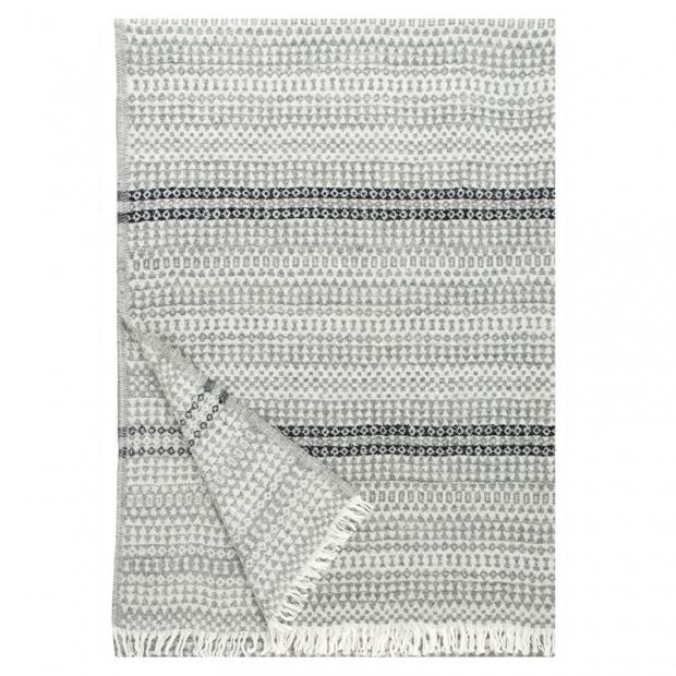 Vlnená deka Aino 130x170, sivo-čierna