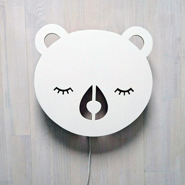 Nástenná lampa Bear, biela