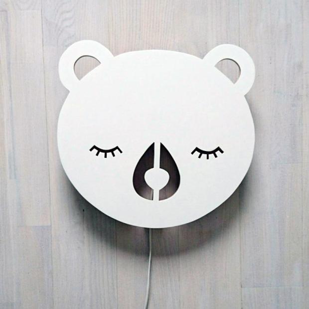 Nástěnná lampa Bear, bílá