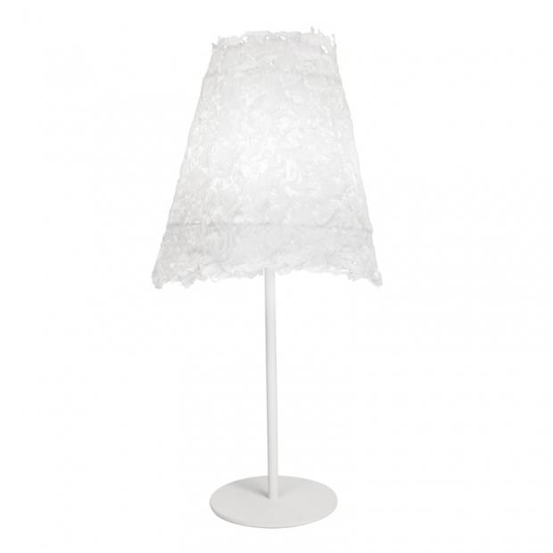 Stolná lampa Frost, biely podstavec