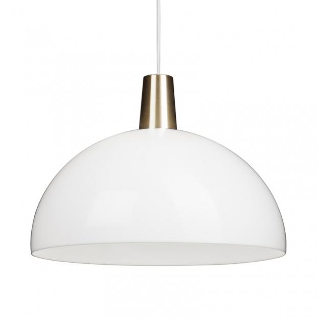 Závesná lampa Kupoli, bielo-mosadzná