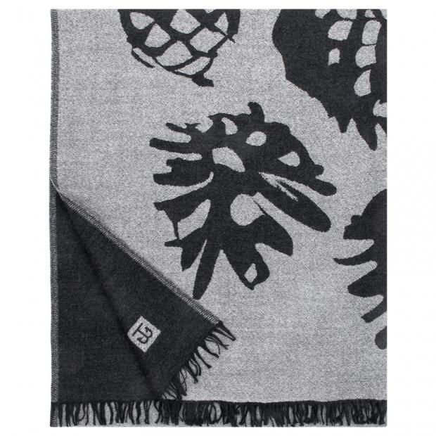 Vlnená deka Käpy 140x180, sivo-čierna