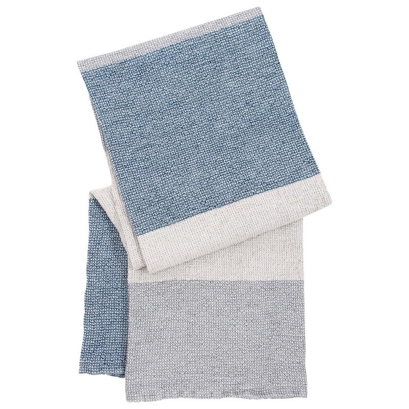 Osuška Terva 85x180, bílo-šedo-modrá