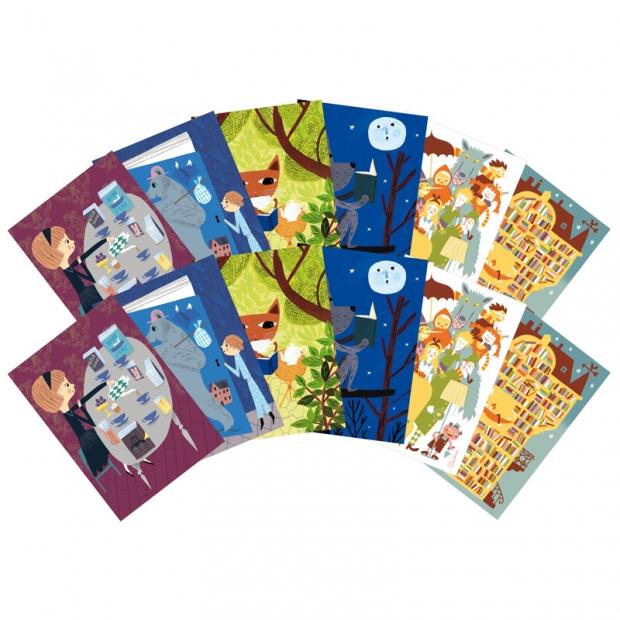 Set pohľadníc I love books A6, 12ks