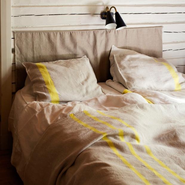 Ľanové obliečky Usva 150x210, ľan-žltá