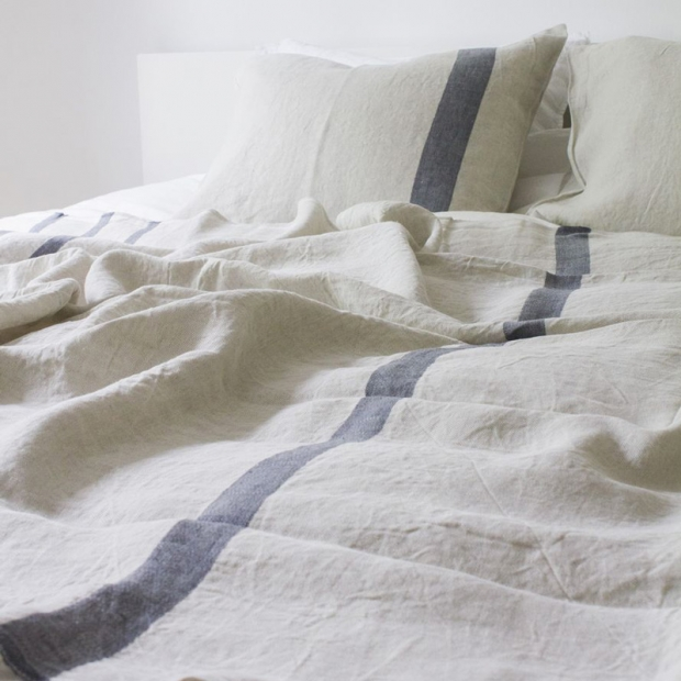 Ľanové obliečky Usva 150x210, ľan-sivá