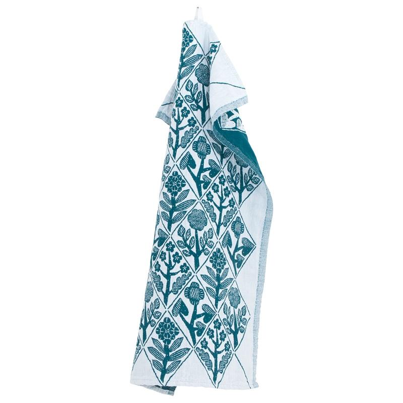 Utěrka Kukat 48x150, bílo-petrolejová