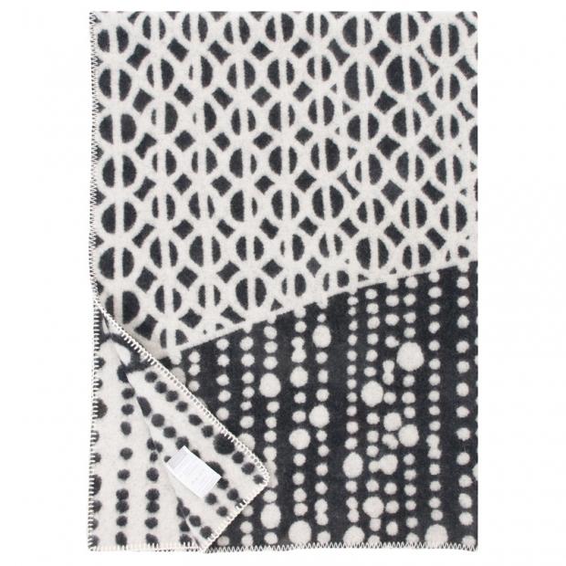 Vlnená deka Taivaanvalkeat 130x180, čierno-biela