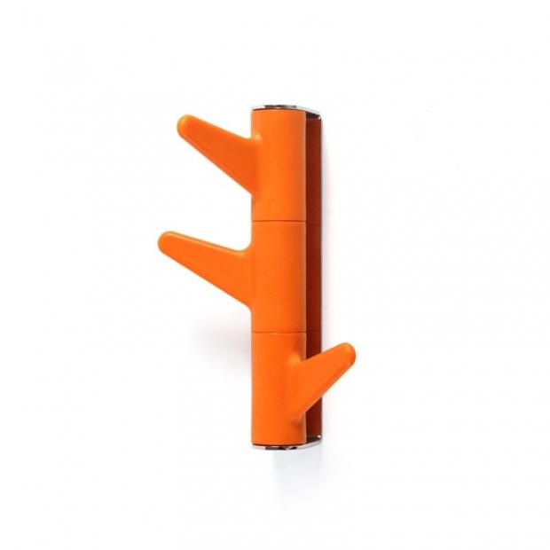 Věšák na zeď Oka, 3 háčky / oranžový