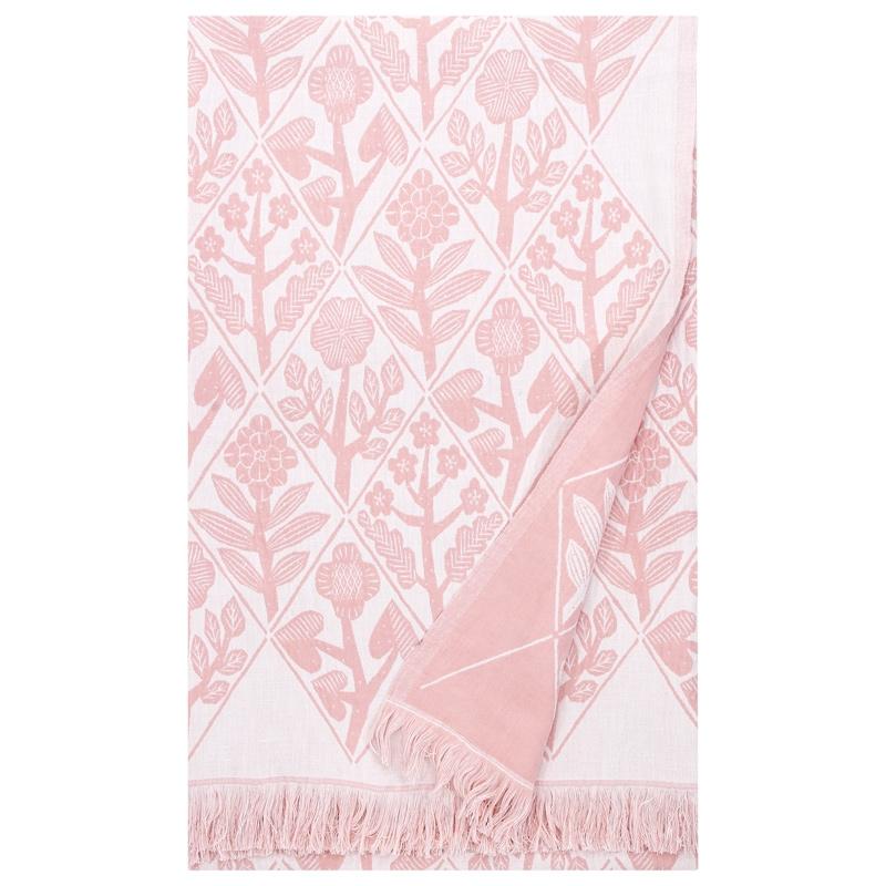 Deka / obrus Kukat 140x240, bielo-ružová