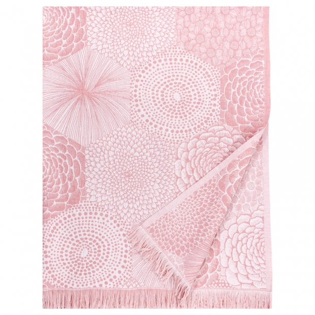 Ľanová deka / obrus Ruut 140x240, ružovo-biela