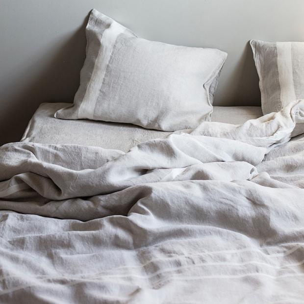 Ľanové obliečky Usva 230x220, ľan-biela