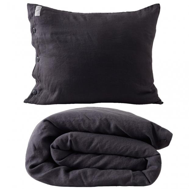 Ľanové obliečky 150x210, tmavo sivé