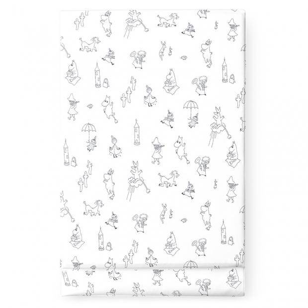 Prostěradlo Moomin Friends 150x270, bílo-černé